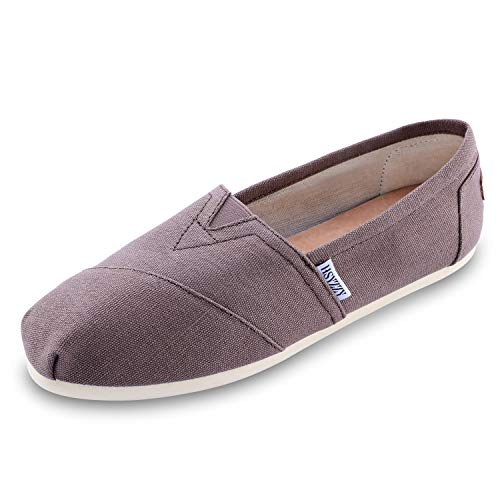 Women's Canvas Shoes Slip-on Ballet Flats Classic Casual Sneakers Daily Loafers Brown