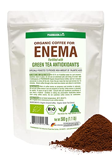 Organic Enema Coffee With Green Tea Extract, Original Gerson Roast Profile From Germany For Maximum Palmitic Acid And Premium Uji Matcha Extract To Boost Caffeine and Antioxidant Levels 1.1 lb bag Approx 28 Enemas