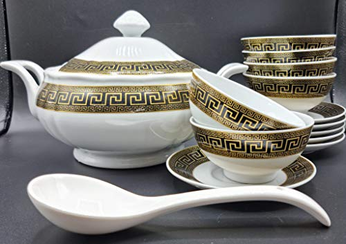set 15 piezas sopera de ceramica marroqui 2500 litros, 6 tazas con platos 1 cuchara para servir - Cuenco para Sopa con 2 Asas Y Tapa Tazón De Porcelana Horno Microonda Cocina Estilo arabe