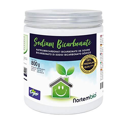 NortemBio Bicarbonate de Soude 800g, Intrant de la Production Biologique, sans Aluminium, Qualité Supérieure, 100% Naturel. E-Book Inclus.