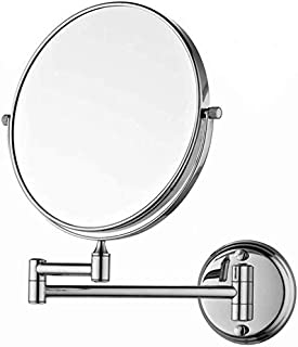 Makeup Vanity Mirror, Two-Sided Wall Mounted Beauty Mirror 3X Magnification Cosmetic Mirror 360° Swivel Extendable Bathroom Mirror,Silver_8inch, Bathroom