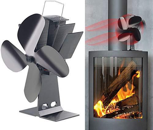 Carlo Milano Kaminventilator: Stromloser Kaminofen-Ventilator mit 4 Lüfter-Blättern, für 65-345 °C (Ventilator Ofen)