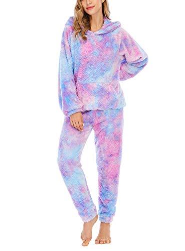 Chongmu Pyjama für Frauen Mädchen Damen Krawattenfarbiger Hausmantel mit Kapuze Warme Flanellhose Set, Rosa Violett, L