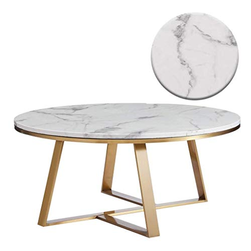 Woonkamer round salontafel Elegant Ronde Koffietafel, Faux wit marmer/Gold Base Side/End Table, Multi Function Living Room Decor van het Huis Laptop Moderne woonkamer ronde tafel