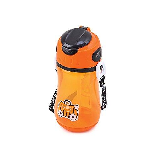 Trunki Kinder-Trinkflasche mit Strohhalm und Tragegurt - Tipu (orange)