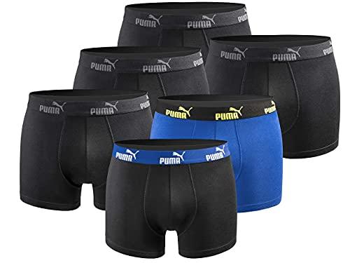 PUMA Herren Boxershort Limited Statement Edition 6er Pack - Black-Blue-Yellow New - Gr. L