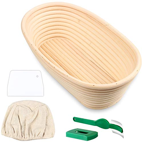 Semlos Bread Proofing Basket Oval, Rattan Bamboo Basket, Banneton Baking Baskets with Line Cloth, Bread Lame, Dough Scraper