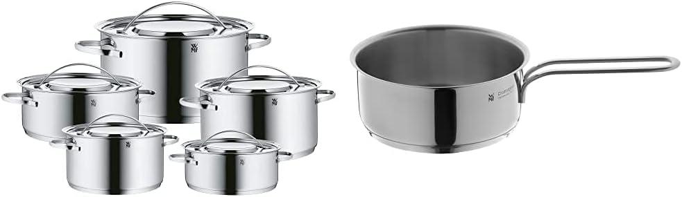 WMF Gala Plus Set de 5 ollas, acero inoxidable + Mini Cazo de Ø14cm y 0,9 litros, cromargan acero inoxidable publido, apto para todo tipo de cocina incluido inducción