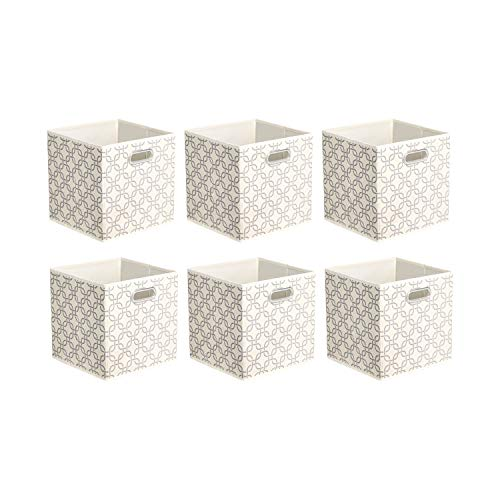 Amazon Basics Collapsible Fabric Storage Cubes with Oval Grommets - 6-Pack, Linked
