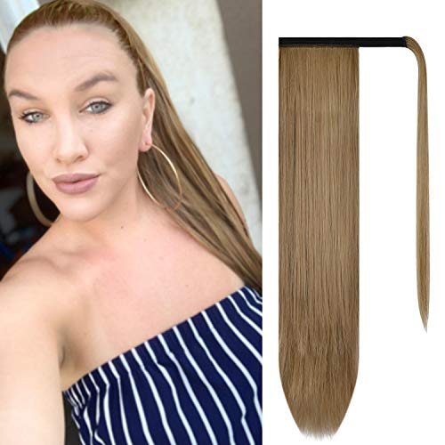 BARSDAR 26 inch Ponytail Extension Long Straight Wrap Around Clip in Synthetic Fiber Hair for Women - Light Golden Brown & Pale Golden Blonde