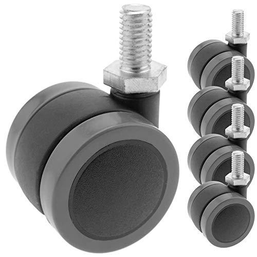 PrimeMatik - Rotelle pivotanti Ruote di Nylon e PVC Senza Freno 34 mm M8 5 Pack