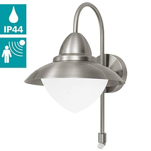 EGLO Außen-Wandlampe Sidney, 1 flammige Außenleuchte, Sensor-Wandleuchte aus Edelstahl, Glas: Weiß, opal-matt, Fassung: E27, inkl. Bewegungsmelder, IP44, Farbe: silber