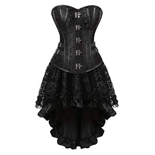 Steampunk Corset Skirt Renaissance Corset Dress for Women Gothic Burlesque Corsets Costumes X-Large Black