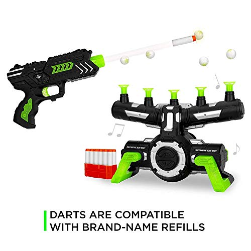 Glow in The Dark Shooting Games,Foam Dart Blasters & Floating Target Set,Flying Ball Shooting Game Toy,Target Practice Toys with Music as Birthday Gift(Black and Green)