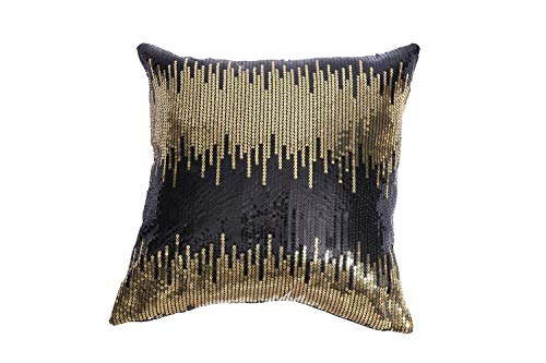 Eternal Beauty|Sequin Cushion Covers,Pack of 2 Decorative Black Gold Throw Pillowcases,Square Sparkly Cushin Cover for Home Decor with Concealed Zip 20 x 20 inch(50 x 50 cm)