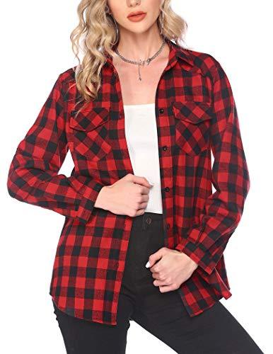 Hotouch Camicia a quadri da donna in flanella, a maniche lunghe, con bottone, stile casual, da uomo, taglie S-XXL, Colore: rosso, M