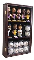 Pro UV, Bobble Head Figurine Baseball Cubes Display Case Cabinet Holder Wall Rack 98% UV Lockable, Mahogany CD15-MA