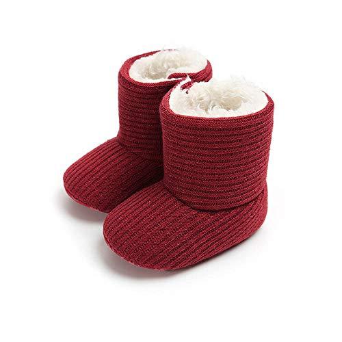 MK MATT KEELY Baby Jungen Mädchen Weiche Sohle Schneestiefel Winter Warme Schuhe Booties, Rot - rot - Größe: 0-6 Monate