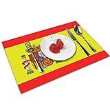 Hectwya Manteles Individuales Manteles Individuales Bandera de España Mantel Individual de 4 Piezas para Mesa de Comedor Lavable Decorativo (12x18 Pulgadas)