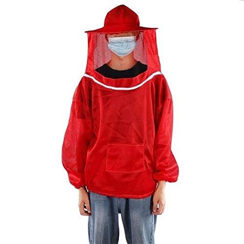 MINGMIN-DZ Dauerhaft Bienenzucht Anzug Berufs Bienenzucht Schutzjacke Beekeeper Schleier Anzug Smock Hüte Imker die Bienenzucht Werkzeuge (Color : Red)