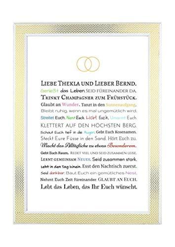 Bilderrahmen Hochzeit: Hochzeitsgeschenk Brautpaar - Geschenk personalisiert, Kunstdruck Poster Bild in DIN A4- Gastgeschenk für Trauzeuge/Trauzeugin oder persönliche Beigabe zum Geldgeschenk