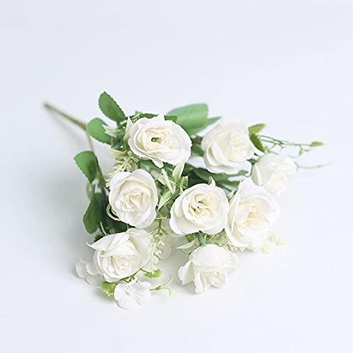 Sonze Flor de simulación de Rosa de 5 Tenedores, decoración de Flores de Boda-E,Ramos de Novia, arreglos Florales,Flor Falsa para Boda Decoración
