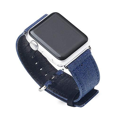 Fhony Correa Compatible con Apple Watch 38Mm 40Mm 42Mm 44Mm Series 6/5/4/3/2/1 Correa de Denim Azul Pulsera Tejidas Ajustable Reemplazo Wristband Correas Reloj de Liberación Rápida,Light Blue,42/44mm