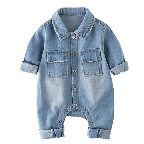 Baby Jeans Overall Jungen Mädchen Revers Langarm Denim Strampler Outfit Infant Jeans Body Kleidung 3-6 Monate