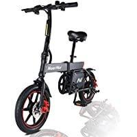 """MoovWay Bicicleta Eléctrica Plegables, 350W Motor Bicicleta Plegable 25 km/h y 25 km, Bici Electricas Adulto con Ruedas de 14"""", Batería 36V 6.0Ah, Asiento Ajustable, con Pedales (B20-negro)"""