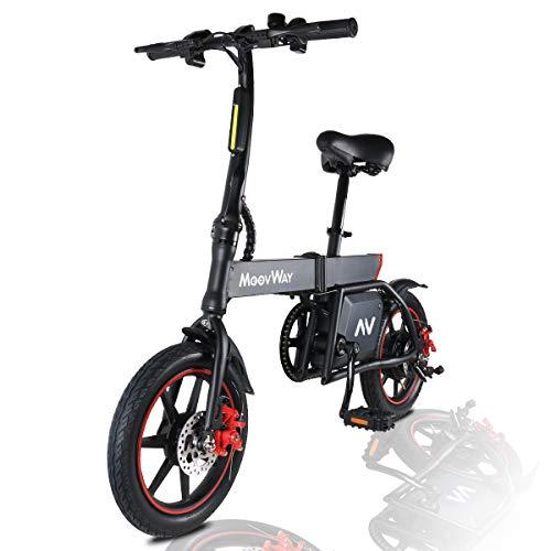 MoovWay Bicicleta Eléctrica Plegables, 350W Motor Bicicleta Plegable 25 km/h y 25 km, Bici Electricas Adulto con Ruedas de 14', Batería 36V 6.0Ah, Asiento Ajustable, con Pedales (B20-negro)