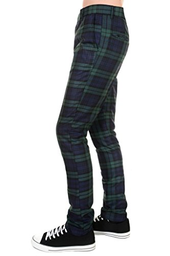 Run & Fly Pantalones ajustados para hombre de los años 60 Vintage Retro Mod Blackwatch