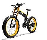 LANKELEISI 750plus 48V 14.5ah 1000W Bicicleta eléctrica 26'4.0 Neumático Grande Bicicleta de montaña Bicicleta eléctrica Plegable Adulto Hombre y Mujer Horquilla Anti-Mejora (Amarillo, 500W)