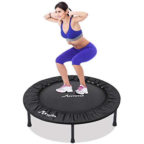 MOVTOTOP Mini Trampoline 38 Inch, Folding Indoor Trampolines with Safety Pad, Fun Mini Fitness Rebounder Trampoline for Kids Adults Indoor/Garden Workout Max 300lbs, Black