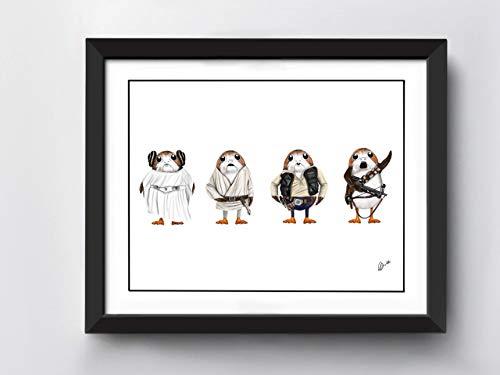 Star Wars Porgs Art Print | A4 Size | Princess Leia Porg | Chewbacca Porg | Luke Skywalker Porg | Han Solo Porg | Hand Drawn Illustration | Print only not Framed