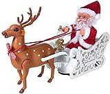 Isunday Elektrisch Weihnachten Spielzeug, Elektrisch Weihnachtsmann Puppe Elch Schlitten Spielzeug...