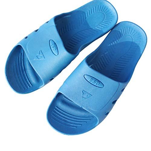 LYNNDRE Antistatische Hausschuhe, Atmungsaktive Gummi-Reinraumhausschuhe, Unisex Waschbar, Werksseitig Werkstattgeeignet,Blau,23cm