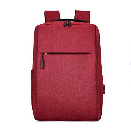 Shoulder Bag Casual Fashion Trend Backpack Computer USB Charging Simple Business Man Bag Student Bags Computer Backpack (Color : Claret)