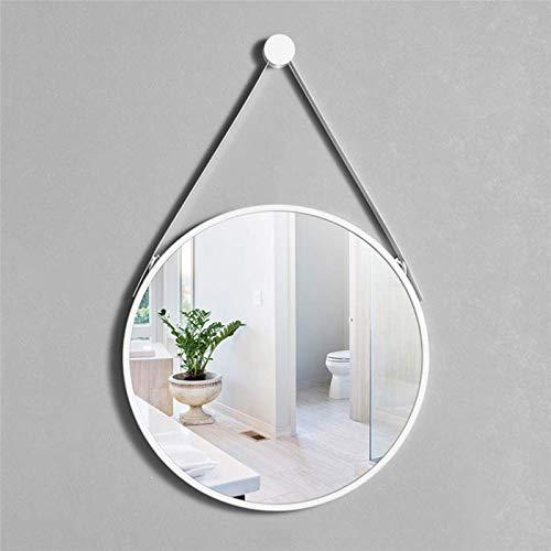 Espejo Redondo para baño (con cordón) Marco de Hierro Forjado, Espejo para Colgar en la Pared, Espejo de vanidad con Borde Blanco