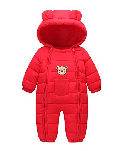 Infant Baby Boy Snowsuit Waterproof Winter Romper Toddler Hoody Cotton Coat Red 80