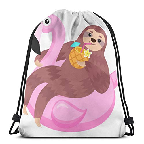 Bag hat Sloth Flamingo Inflatable Float Animals 3D Print Drawstring Backpack Rucksack Shoulder Gym for Adult 16.9