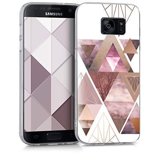 kwmobile Samsung Galaxy S7 Hülle - Handyhülle für Samsung Galaxy S7 - Handy Case in Glory Dreieck Muster Design Rosa Rosegold Weiß