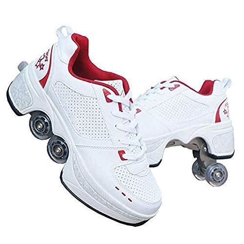 WWWlck Inline-Skate, 2-In-1-Mehrzweckschuhe, Verstellbare Quad-Rollschuh-Stiefel Geeignet Für Anfänger,38