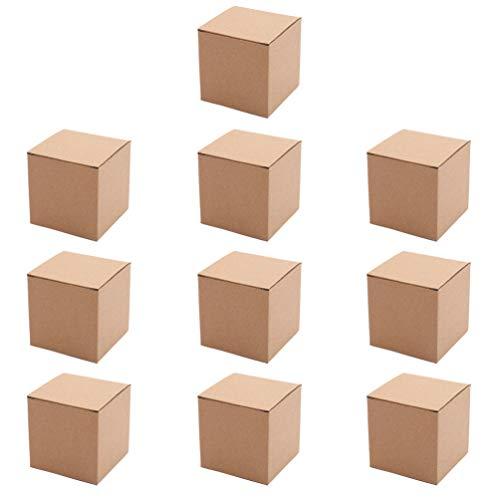Tomaibaby 10 Stück Braune Geschenkboxen Papierbox Tragbare Kraftpapier-Geschenkboxen mit Deckel Verpackungsbox für Geschenke Cupcake-Boxen Geschenkverpackungen (10X10x10cm)