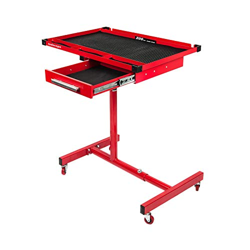 TODOCOPE - TDC-7421-R 200 lbs Capacity Adjustable Work Table with Drawer Rolling Tool Tray with Wheels, paint coating,strong outer packing,Red