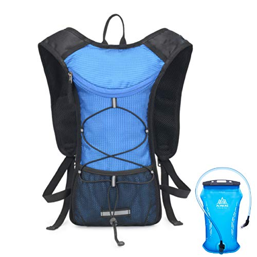 Azarxis Mochila de Hidratación Ligera Chaleco de Trail Running para Ciclismo Escalada Camping Correr Senderismo (Azul - con Vejiga de Agua de 2L TPU)