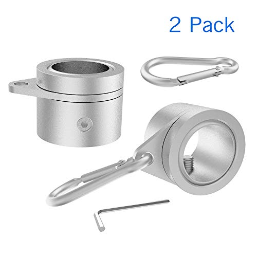 YARKOR Flag Pole Clip, Aluminum Alloy Flag Pole Rings, 360 Degree Rotating Tangle Free Flagpole Flag Mounting Rings Spinning Flag Pole Kit with Carabiner for 0.75-1.02 Inch Diameter(Sliver)