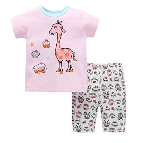Cover Baby Bekleidungsset Mädchen Sommer T-Shirt + Shorts Kurzarm Cartoon Tier Oberteile Kurze Hosen