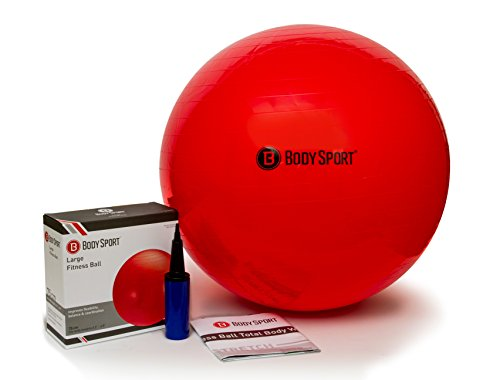 Body Sport Exercise Ball with Pump for Home, Gym, Balance, Stability, Pilates, Core Strength, Stretching, Yoga, Fitness Facilities, Desk Chairs – Red 75cm