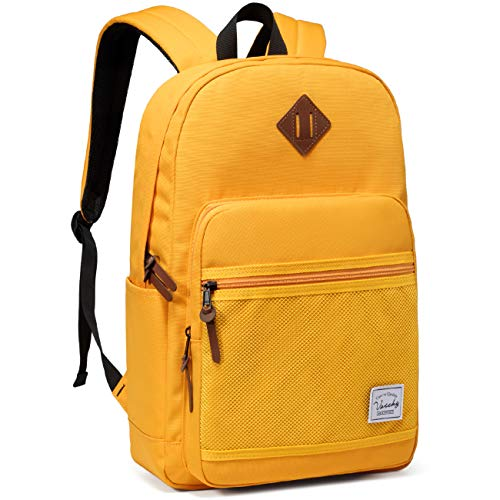 School Backpack,VASCHY Water Resistant Lightweight Casual Backpack for Women Teenage Girls with Padded Laptop Sleeve Yellow