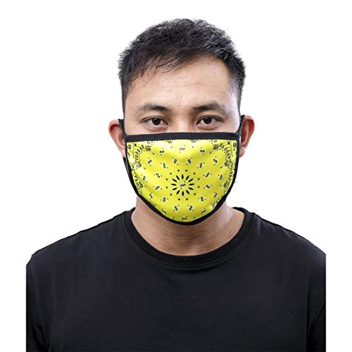 Club Urban Unisex Solid Paisley Face Masc Dust Cover Germ Protection Black Yellow